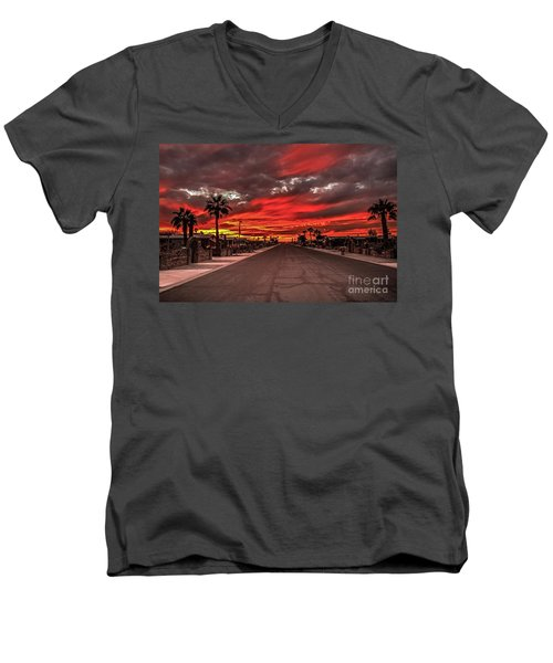Street Sunset Men's V-Neck T-Shirt by Robert Bales