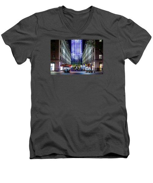 Rockefeller Center Men's V-Neck T-Shirt by M G Whittingham