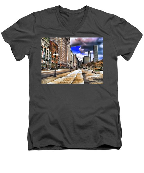 Men's V-Neck T-Shirt featuring the digital art Streets Of Chicago by Kathy Tarochione