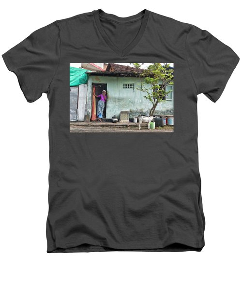 Streets Of Kochi Men's V-Neck T-Shirt by Marion Galt