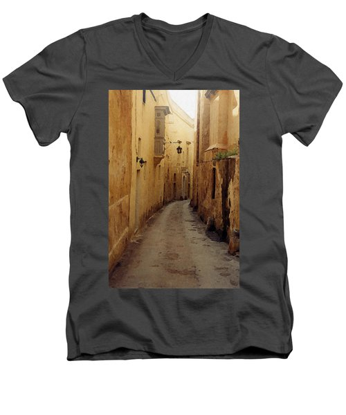 Men's V-Neck T-Shirt featuring the photograph Streets Of Malta by Debbie Karnes