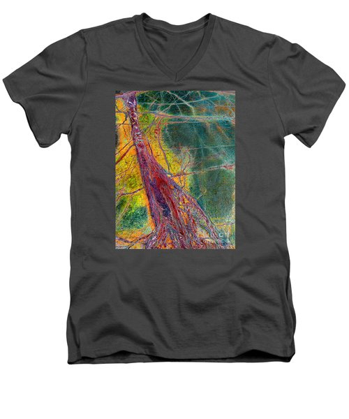Men's V-Neck T-Shirt featuring the painting Strength  by Haleh Mahbod