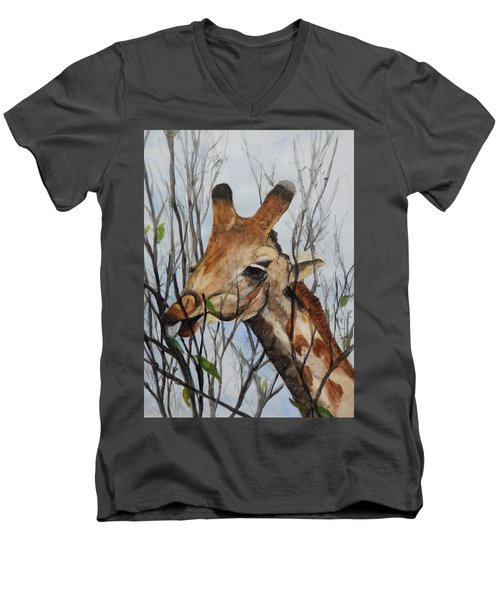 Men's V-Neck T-Shirt featuring the painting Stretch by Betty-Anne McDonald
