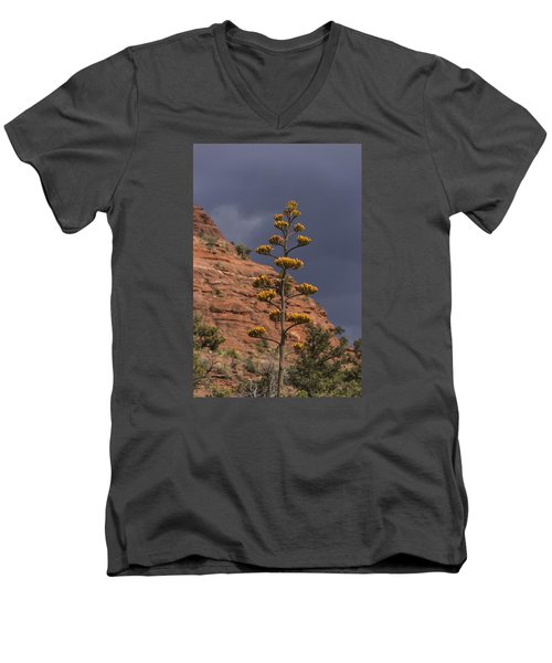 Men's V-Neck T-Shirt featuring the photograph Stretching Into A Threatening Sky by Laura Pratt