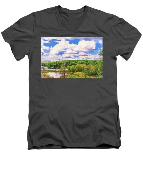 Striking Clouds Above Small Water Inlet And Green Trees Men's V-Neck T-Shirt