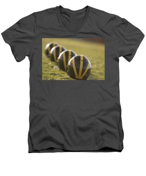 Striped Helmets On Yard Line Men's V-Neck T-Shirt