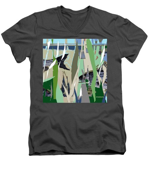 Men's V-Neck T-Shirt featuring the mixed media Striper  by Andrew Drozdowicz