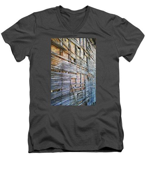 Men's V-Neck T-Shirt featuring the digital art Strips by Steve Sperry