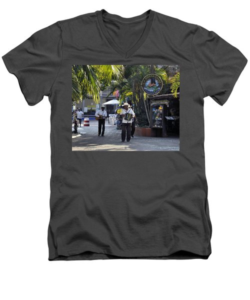 Men's V-Neck T-Shirt featuring the photograph Strolling Musicians by Jim Walls PhotoArtist