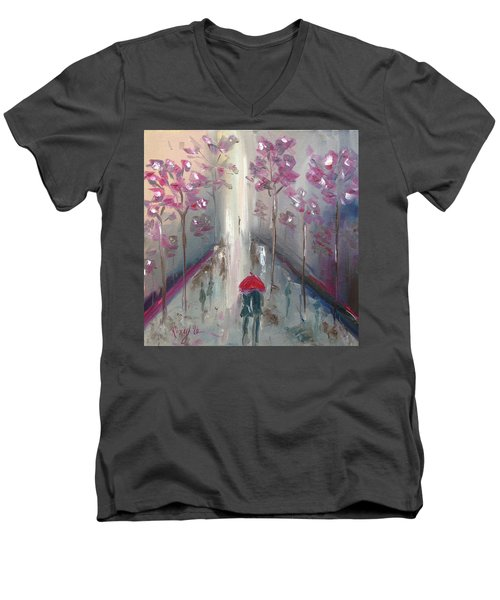 Strolling Men's V-Neck T-Shirt by Roxy Rich