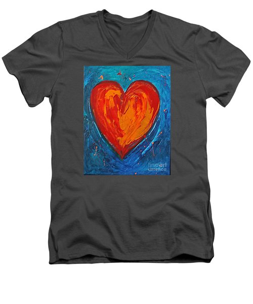 Men's V-Neck T-Shirt featuring the painting Strong Heart by Diana Bursztein
