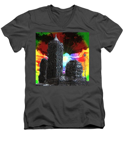 Structural Dissonance Men's V-Neck T-Shirt by Iowan Stone-Flowers