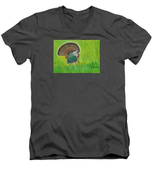 Strutting Turkey In The Grass Men's V-Neck T-Shirt by Margaret Harmon