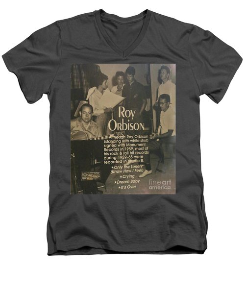 Studio B Roy Orbison  Men's V-Neck T-Shirt by Chuck Kuhn