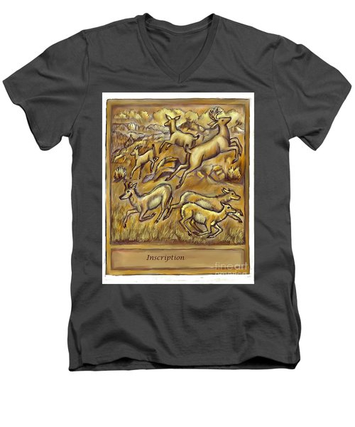 Study For Pronghorn And Deer Sculpture Men's V-Neck T-Shirt by Dawn Senior-Trask