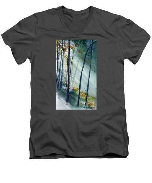 Men's V-Neck T-Shirt featuring the painting Study The Trees by Allison Ashton