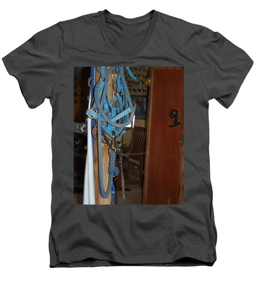 Men's V-Neck T-Shirt featuring the painting Stuff In The Barn by Roena King
