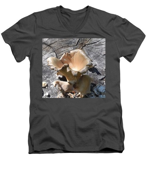 Men's V-Neck T-Shirt featuring the photograph Stump Mushroom I by R  Allen Swezey