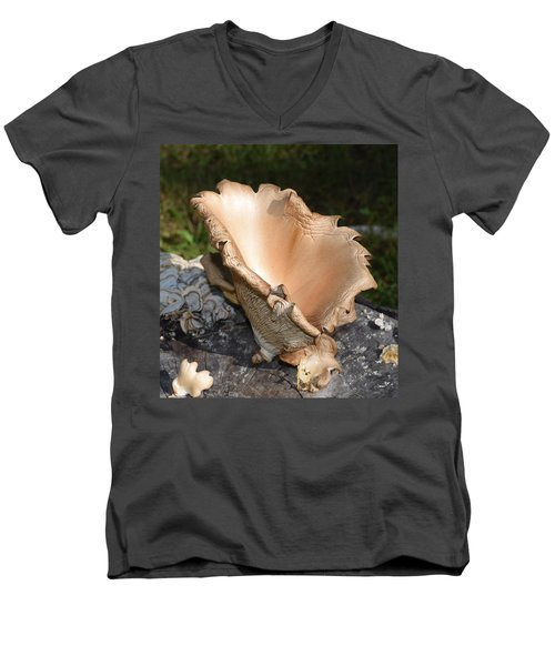 Men's V-Neck T-Shirt featuring the photograph Stump Mushroom  by R  Allen Swezey