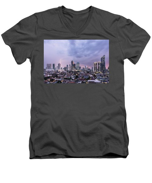 Stunning Sunset Over Jakarta, Indonesia Capital City Men's V-Neck T-Shirt