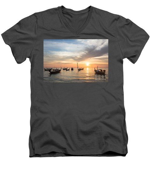 Stunning Sunset Over Wooden Boats In Koh Lanta In Thailand Men's V-Neck T-Shirt