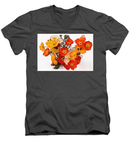 Stunning Vibrant Yellow Orange Poppies  Men's V-Neck T-Shirt