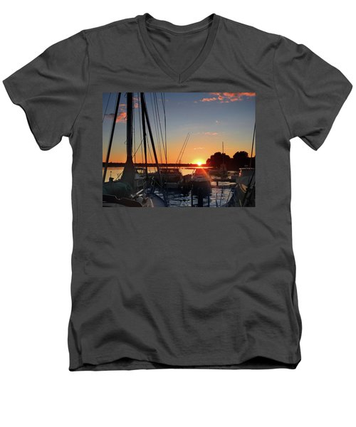 Sturgeon Bay Sunset Men's V-Neck T-Shirt by Rod Seel
