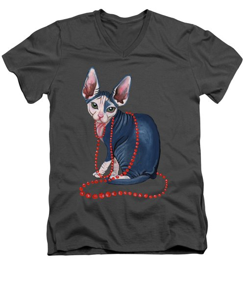 Stylish Sphynx Men's V-Neck T-Shirt