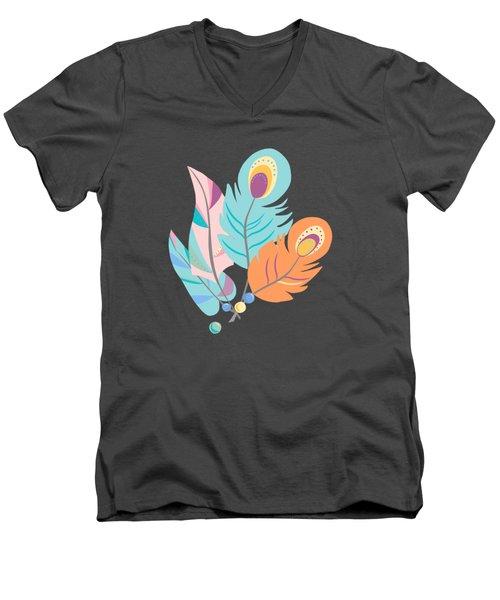 Stylized Peacock Feather Design Men's V-Neck T-Shirt