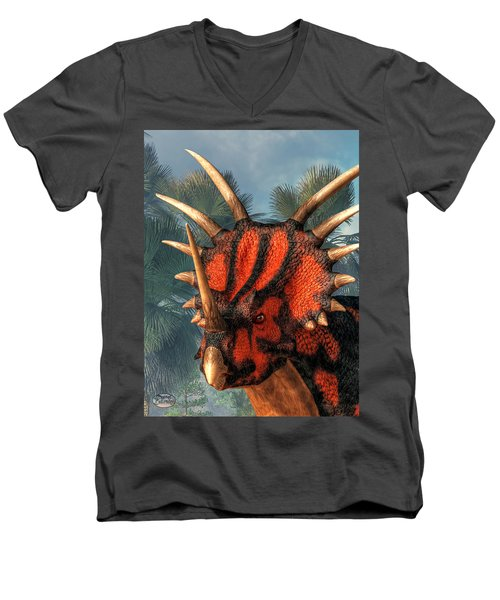 Styracosaurus Head Men's V-Neck T-Shirt