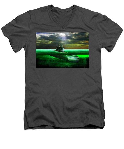 Submarine Men's V-Neck T-Shirt by Michael Cleere