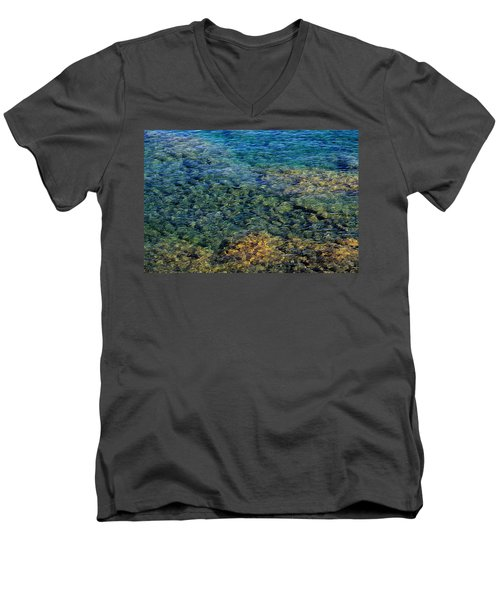 Submerged Rocks At Lake Superior Men's V-Neck T-Shirt