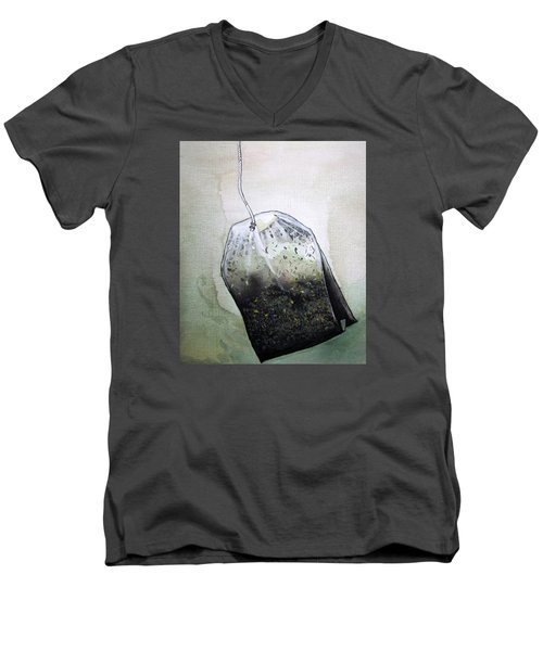 Submerged Tea Bag Men's V-Neck T-Shirt by Mary Ellen Frazee
