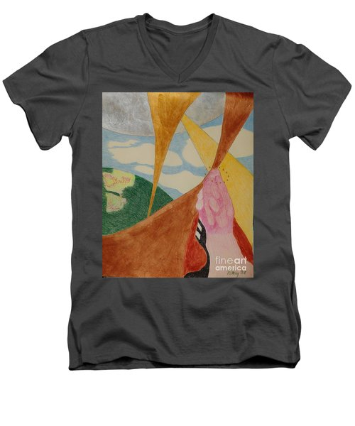 Men's V-Neck T-Shirt featuring the drawing Subteranian  by Rod Ismay