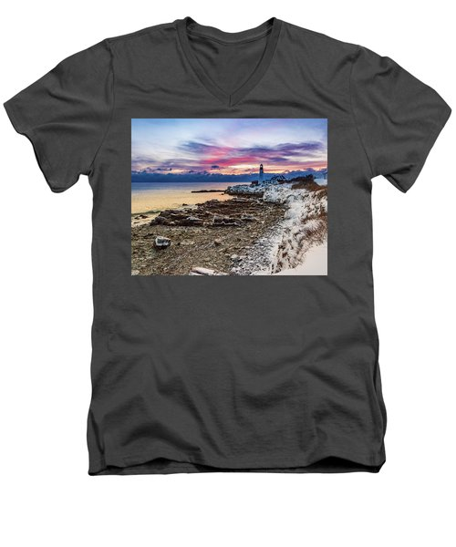 Subtle Sunrise At Portland Head Light Men's V-Neck T-Shirt