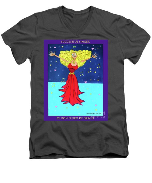 Successful Singer. Men's V-Neck T-Shirt by Don Pedro De Gracia