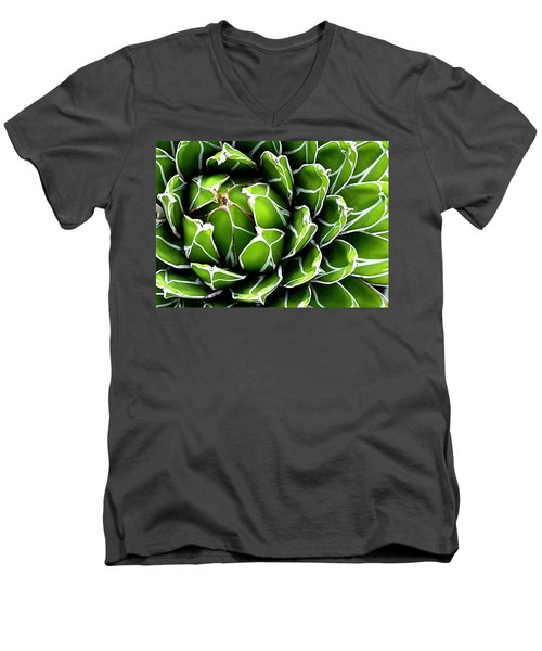 Men's V-Neck T-Shirt featuring the photograph Succulent In Color by Ranjini Kandasamy