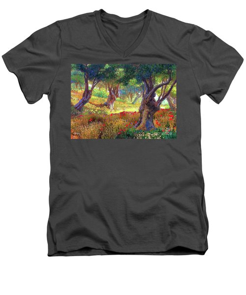 Men's V-Neck T-Shirt featuring the painting Tranquil Grove Of Poppies And Olive Trees by Jane Small