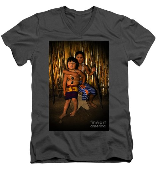 Men's V-Neck T-Shirt featuring the photograph Sucua Kids 901 by Al Bourassa