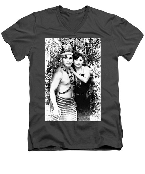 Men's V-Neck T-Shirt featuring the photograph Sucua Shaman And Spouse by Al Bourassa