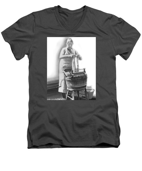 Men's V-Neck T-Shirt featuring the painting Suds In The Bucket by Ferrel Cordle