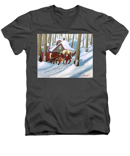 Sugar Bush Sleigh Ride Randonne En Traneau Sucre Men's V-Neck T-Shirt by Patricia L Davidson