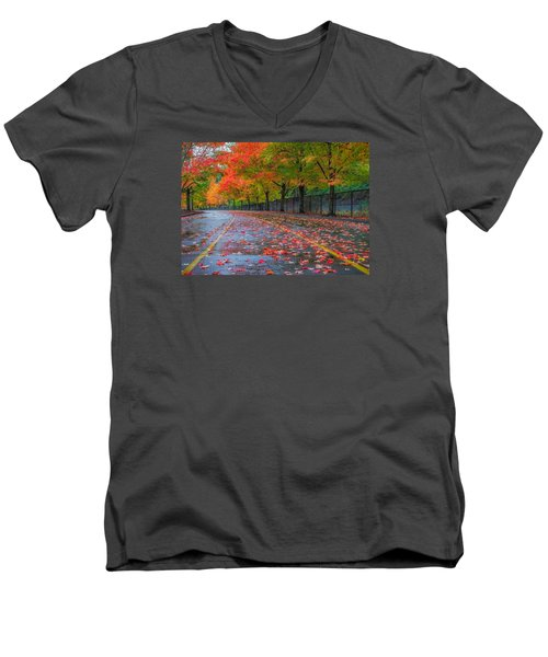 Sugar Maple Drive Men's V-Neck T-Shirt by Ken Stanback