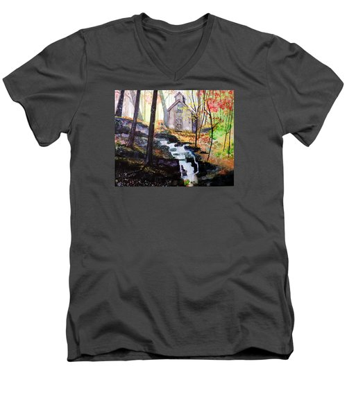 Men's V-Neck T-Shirt featuring the painting Sugar Shack by Tom Riggs