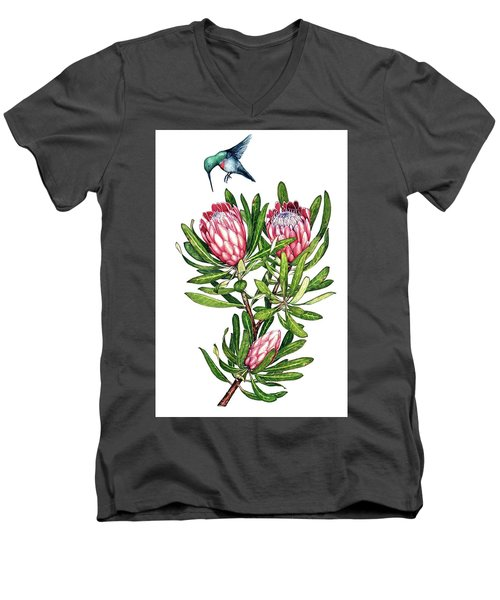 Men's V-Neck T-Shirt featuring the painting Sugarbush And The Humming Bird by Heidi Kriel
