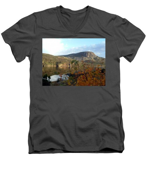 Men's V-Neck T-Shirt featuring the photograph Sugarloaf Hill In Autumn by Barbara Griffin