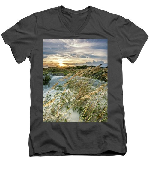 Men's V-Neck T-Shirt featuring the photograph Sullivan's Island Dunes by Donnie Whitaker