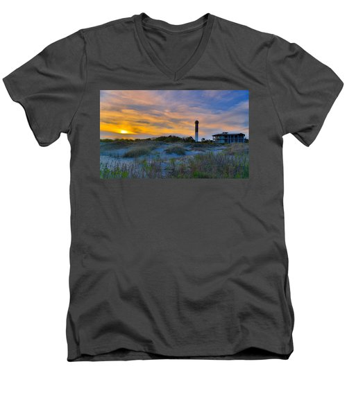 Men's V-Neck T-Shirt featuring the photograph Sullivan's Island Lighthouse At Dusk - Sullivan's Island Sc by Donnie Whitaker