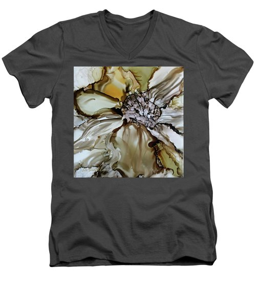 Men's V-Neck T-Shirt featuring the painting Sultry Petals by Joanne Smoley