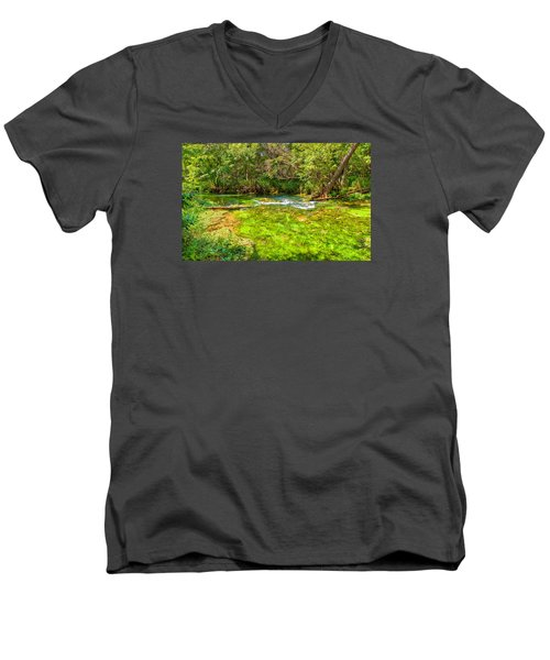 Men's V-Neck T-Shirt featuring the photograph Summer At Alley Springs by John M Bailey